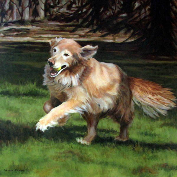 Dog Art Print featuring the painting Golden Days by Sandra Chase