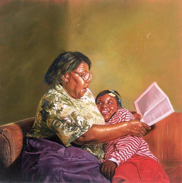 Grandmother Print featuring the painting Grandmas Love by Colin Bootman
