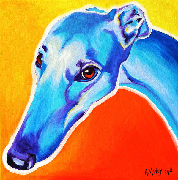 Greyhound Print featuring the painting Greyhound - Lizzie by Alicia VanNoy Call