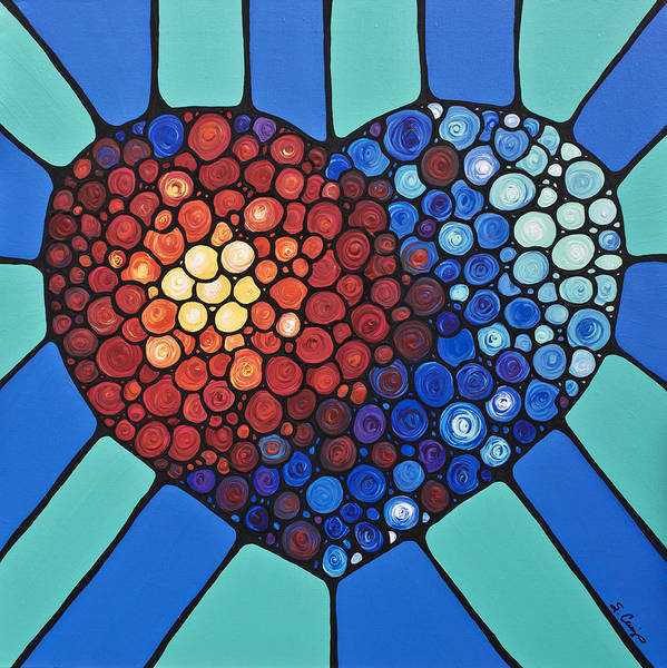 Heart Art Print featuring the painting Heart Art - Love Conquers All 2 by Sharon Cummings