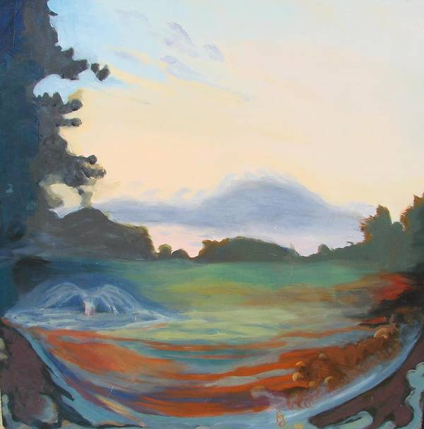Landscape Art Print featuring the painting Hidden Landscape by Carol Oufnac Mahan