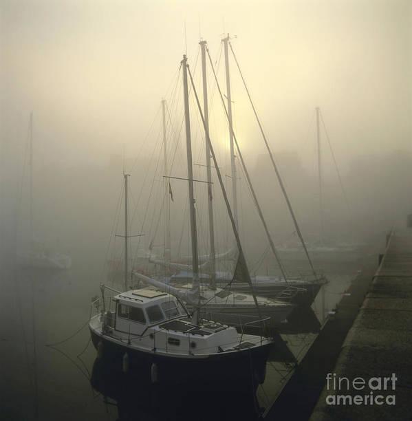 The Print featuring the photograph Honfleur Harbour In Fog. Calvados. Normandy by Bernard Jaubert