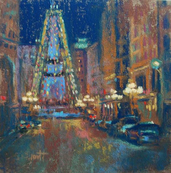 Indianapolis Art Print featuring the painting Indy Circle Christmas by Donna Shortt