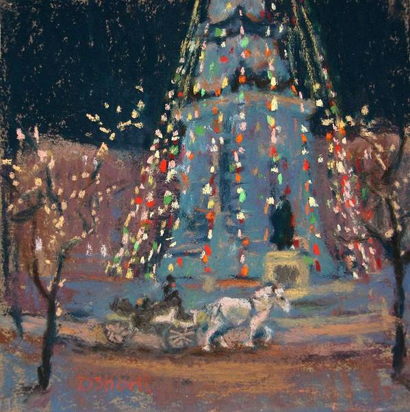 Indianapolis Art Print featuring the painting Indy Monument Lights by Donna Shortt