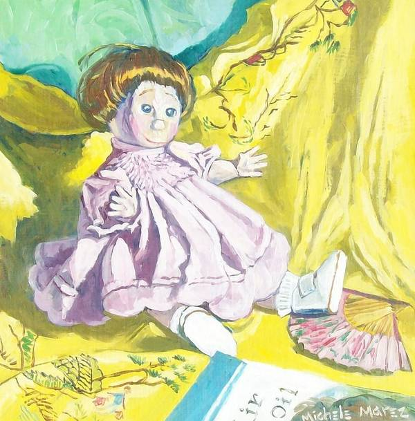 Doll Art Print featuring the painting Isabel's Dolly by Michele Marez