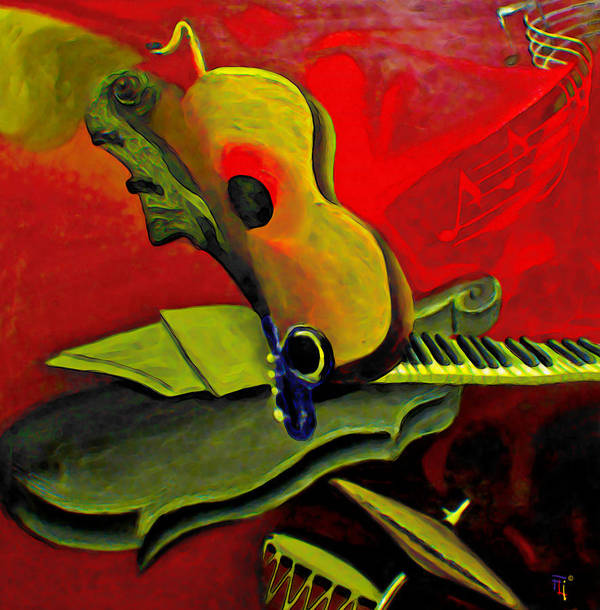 Abstract Art Print featuring the painting Jazz Infusion by Fli Art