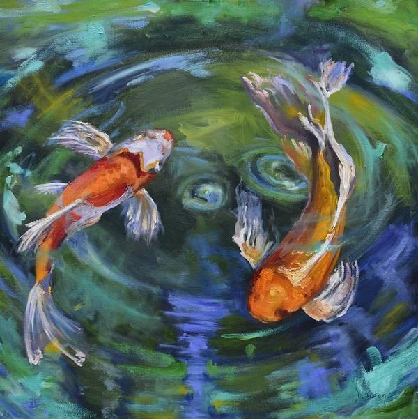 Koi Art Print featuring the painting Koi Swirl by Donna Tuten