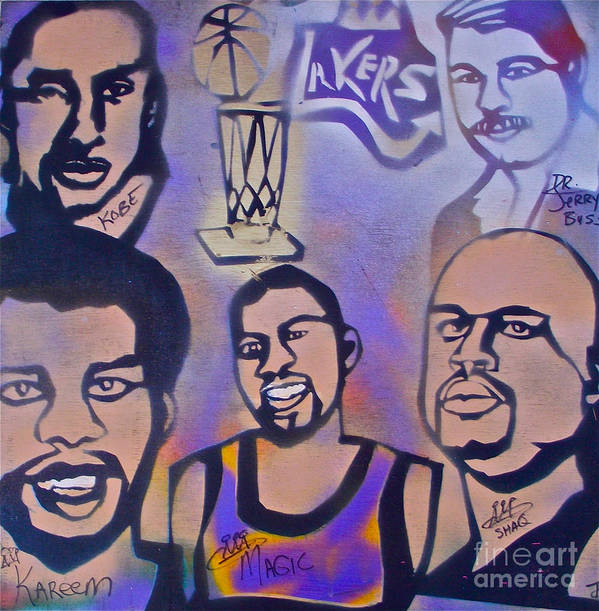 Kobe Bryant Print featuring the painting Lakers Love Jerry Buss 1 by Tony B Conscious