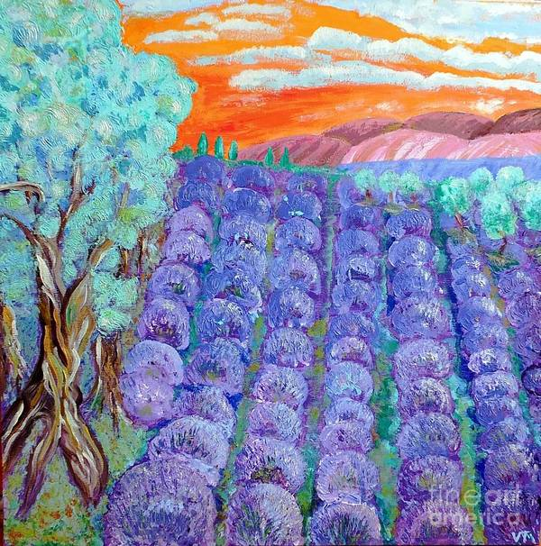Lavender Art Print featuring the painting Lavender by Vicky Tarcau