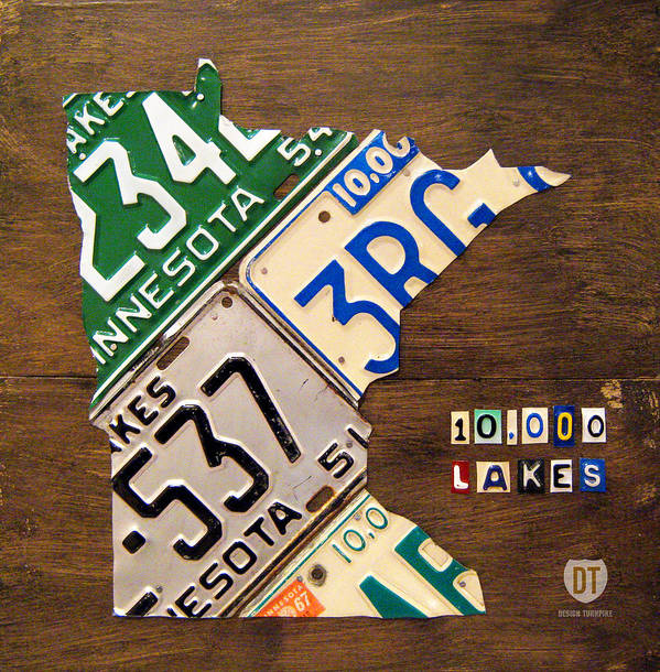 Minnesota Art Print featuring the mixed media License Plate Map Of Minnesota By Design Turnpike by Design Turnpike