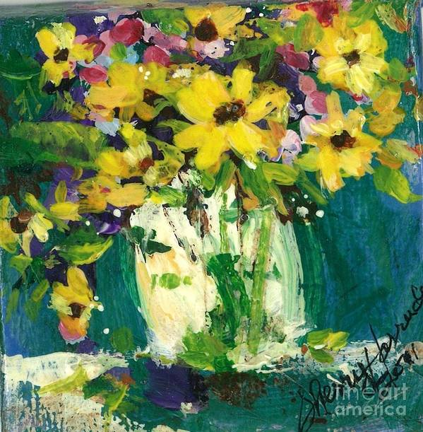 Daisies Art Print featuring the painting Little Daisies by Sherry Harradence