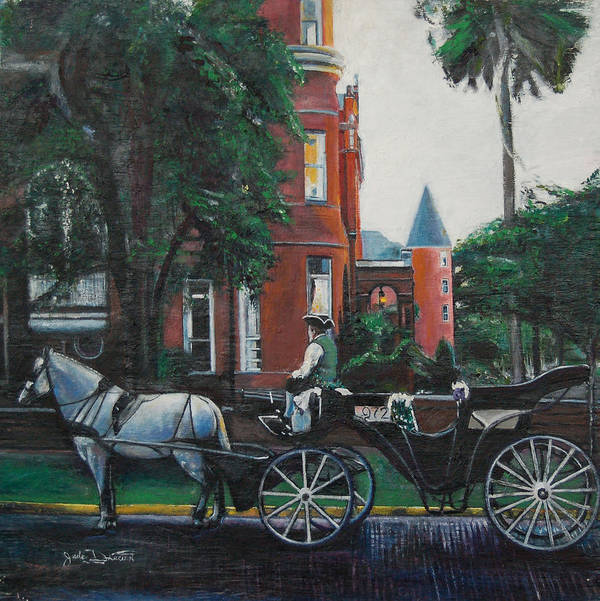 Art Print featuring the painting Mansion On Forsythe Savannah Georgia by Jude Darrien