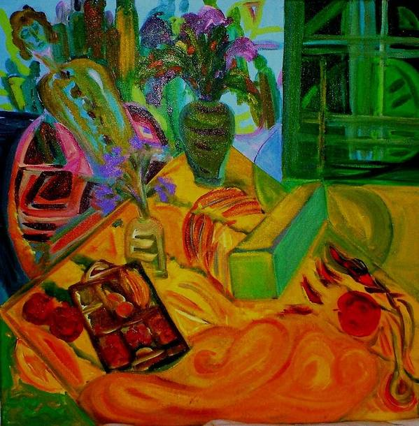 Still Life Art Print featuring the painting Matisse Table by Rashne Baetz