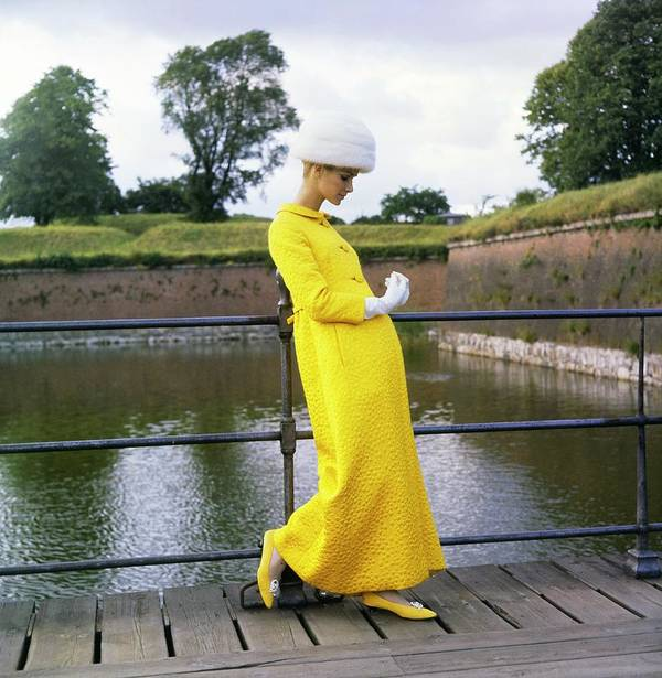 Fashion Art Print featuring the photograph Model Wearing A Mollie Parnis Coat by Horst P. Horst