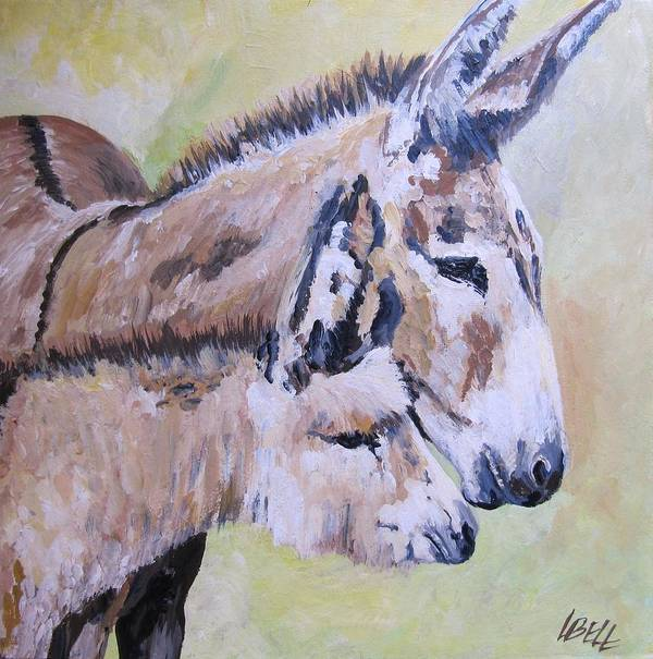 Donkey Art Print featuring the painting Mother And Baby by Leonie Bell