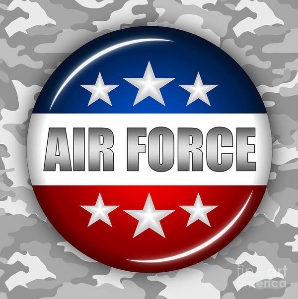 Air Force Art Print featuring the digital art Nice Air Force Shield 2 by Pamela Johnson