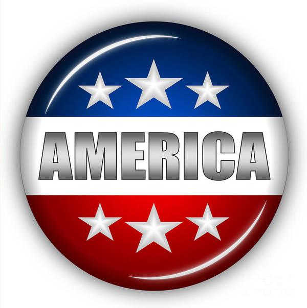 American Flag Art Print featuring the digital art Nice America Shield by Pamela Johnson