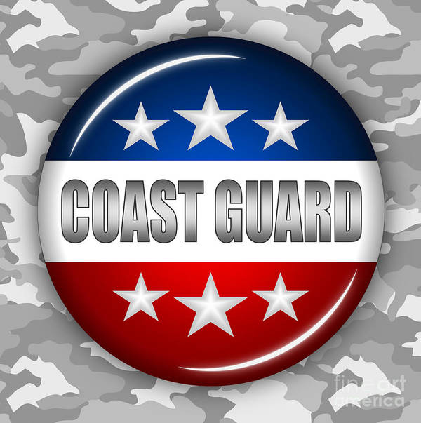 Coast Guard Art Print featuring the digital art Nice Coast Guard Shield 2 by Pamela Johnson