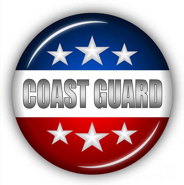 Coast Guard Art Print featuring the digital art Nice Coast Guard Shield by Pamela Johnson