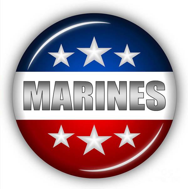 Marines Art Print featuring the digital art Nice Marines Shield by Pamela Johnson