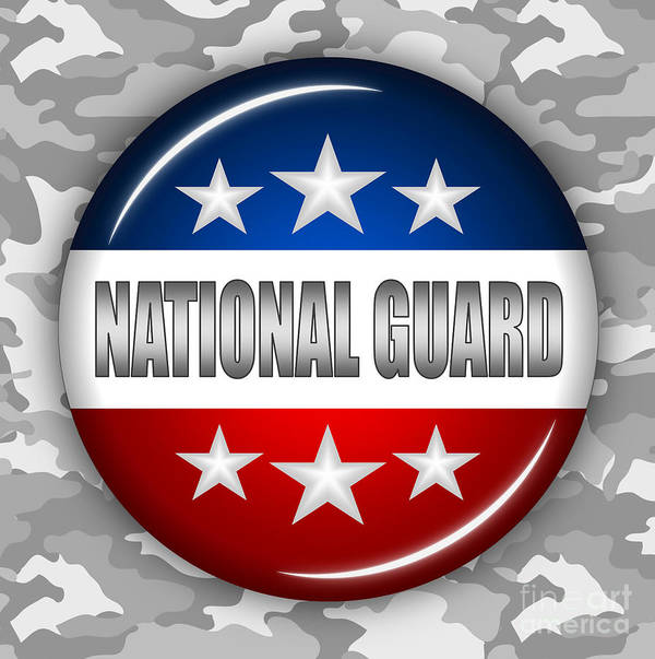 National Guard Print featuring the digital art Nice National Guard Shield 2 by Pamela Johnson