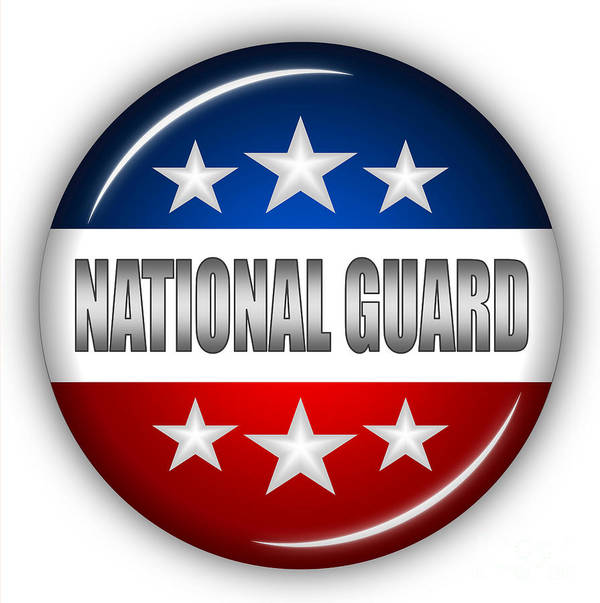 National Guard Art Print featuring the digital art Nice National Guard Shield by Pamela Johnson