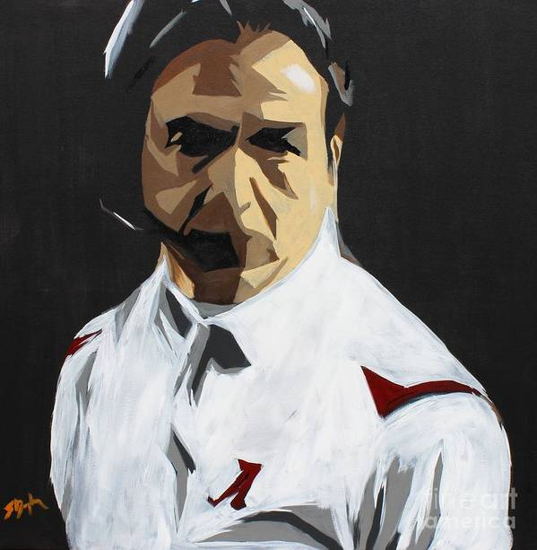 Alabama Print featuring the painting Nick Saban by Steven Dopka