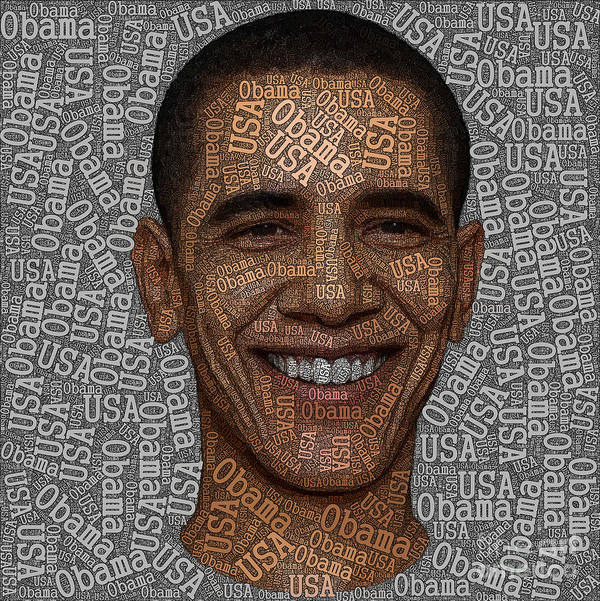Obama Art Print featuring the painting Obama Typography Text Art by Boon Mee