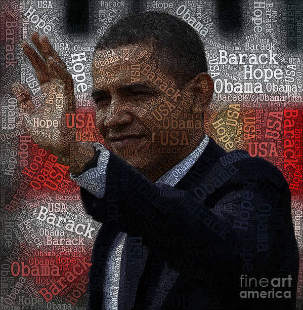 Obama Art Print featuring the painting Obama Usa Typography Design by Boon Mee