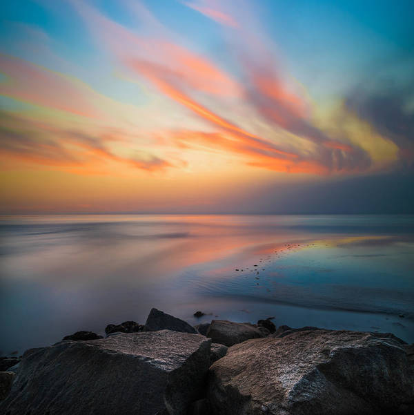 California; Long Exposure; Ocean; Reflection; San Diego; Sand; Seascape; Sky; Sunset; Surf; Seaside; Sun; Clouds; Southern California; Cloud; Water; Waterscape; Reef; Sea; Pacific; Waves; Coast; Coastal;skyline Art Print featuring the photograph Ponto Jetty Sunset - Square by Larry Marshall