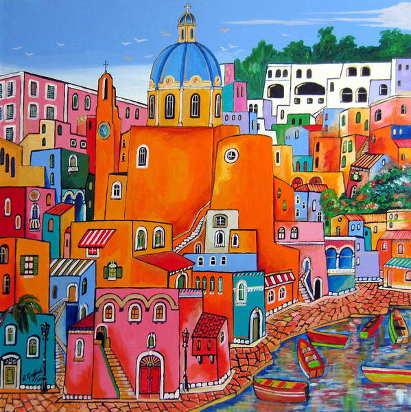 Procida Art Print featuring the painting Procida Houses by Roberto Gagliardi
