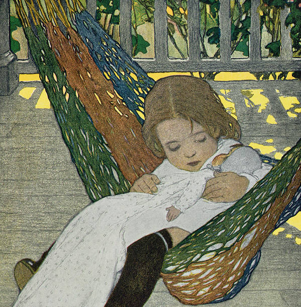 Doll Art Print featuring the drawing Rocking Baby Doll To Sleep by Jessie Willcox Smith