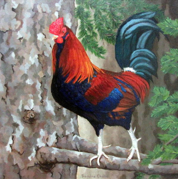 Roosters Print featuring the painting Roscoe The Rooster by Sandra Chase