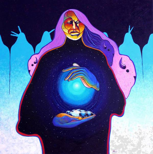Spiritual Art Print featuring the painting She Carries The Spirit by Joe Triano
