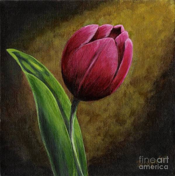 Flower Art Print featuring the painting Single Tulip by Jesslyn Fraser