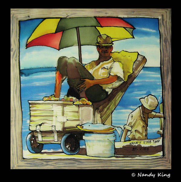 Portrait Print featuring the painting Sleepy Fisherman by Nandy King