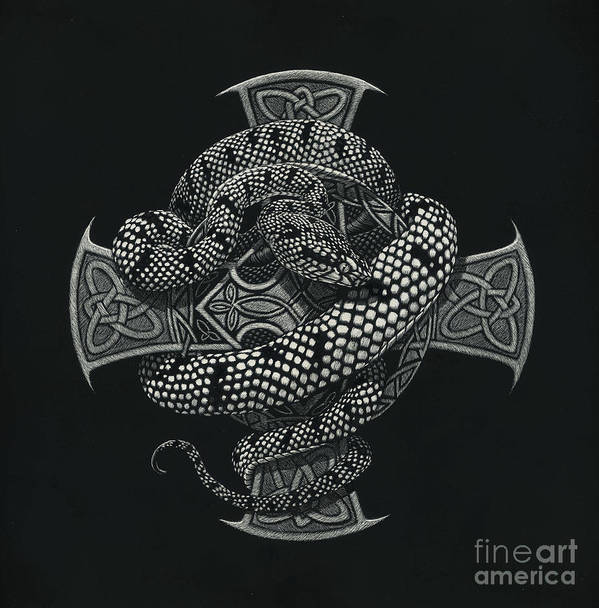 Snake Art Print featuring the painting Snake Cross by Stanley Morrison