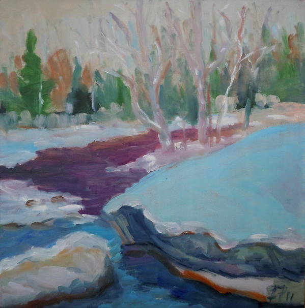 Oil Painting Art Print featuring the painting Snowy Stream by Francine Frank