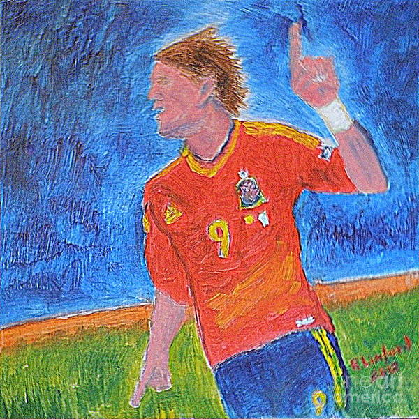 Spain Art Print featuring the painting Spain World Soccer Number 1 by Richard W Linford