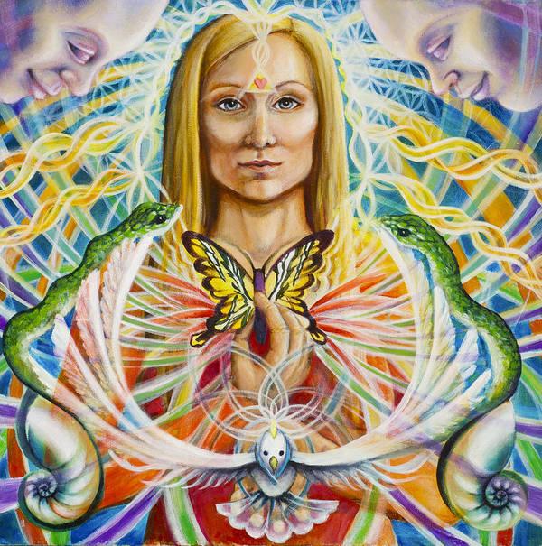 Aura Print featuring the painting Spirit Portrait by Morgan Mandala Manley