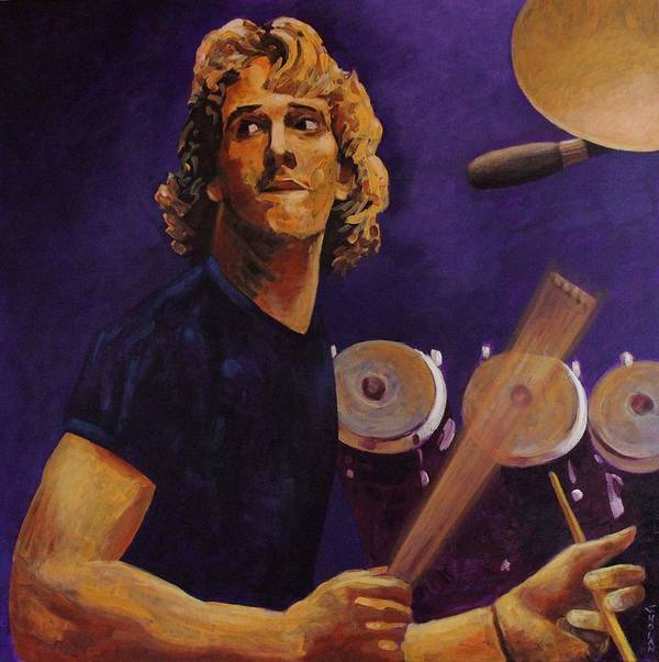 Portrait Print featuring the painting Stewart Copeland - The Police by John Nolan