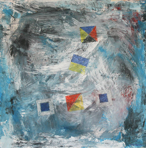 Sea Art Print featuring the painting Storm Signals by Mordecai Colodner