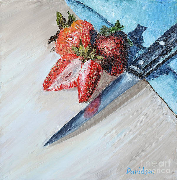 Strawberry Art Print featuring the painting Strawberries With Knife by Regina Davidson