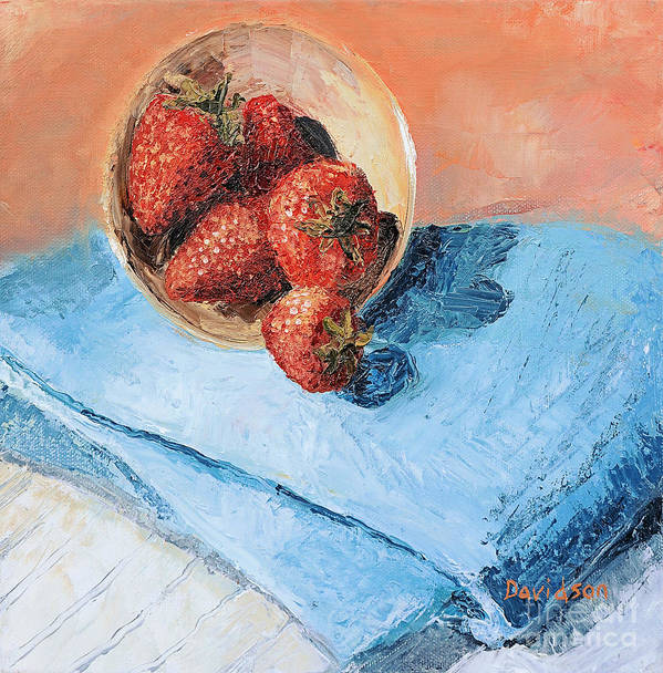 Strawberry Art Print featuring the painting Strawberry Bowl by Regina Davidson