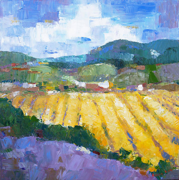Oil Print featuring the painting Summer Field 2 by Becky Kim