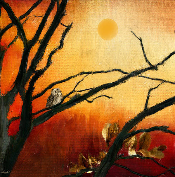 Owl At Sunset Art Print featuring the digital art Sunset Sitting by Lourry Legarde