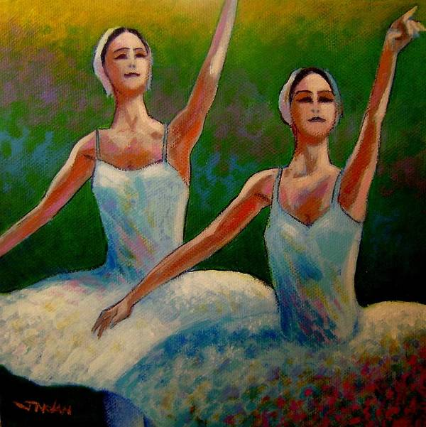 Ballet Art Print featuring the painting Swan Lake II by John Nolan