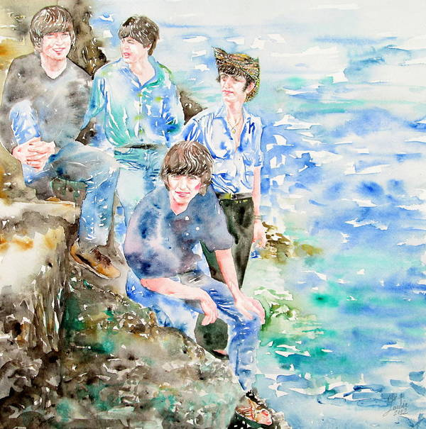 Beatles Art Print featuring the painting The Beatles At The Sea - Watercolor Portrait by Fabrizio Cassetta