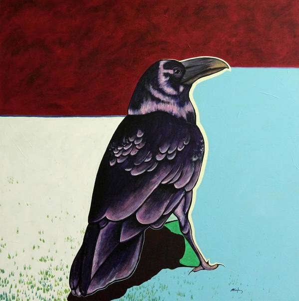 Wildlife Art Print featuring the painting The Gossip - Raven by Joe Triano