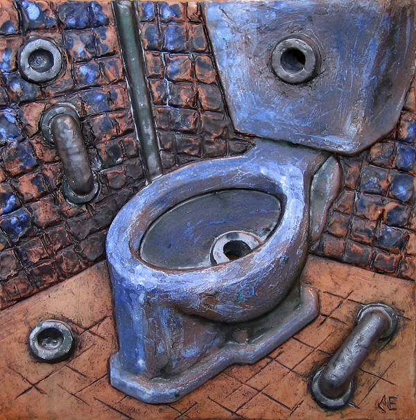 Relief Art Print featuring the relief Toilet Stories #9 by Carlos Enrique Prado